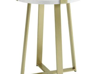 We Furniture Rustic Farmhouse Round Metal Side End Accent Table living Room 1