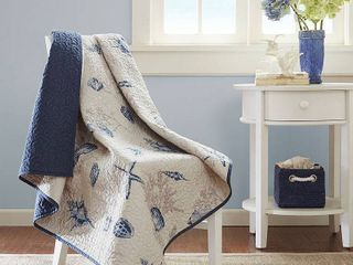 Blue Nantucket Oversized Quilted Throw  60 X70