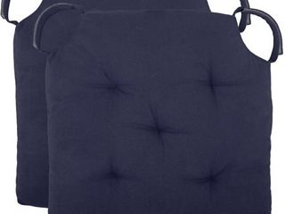 Polyfill Fiber Chair Pads w 5 Velcro Tucks  Set of 02 18 x18  Square Chair Pad Extra Comfortable   Soft Chair Cushion Pad Navy
