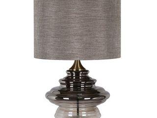 Harp   Finial Kimball 1 light Antique Soft Brass Table lamp   Grey Hardback Fabric Shade  Retail 397 98