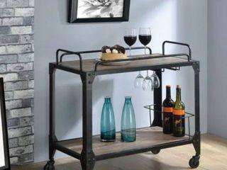 Carbon loft Owen Black Metal  Rustic Oak Serving Cart  Retail 138 99