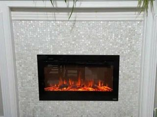 Art3d 12 x12  Mother of Peral Tile Square White with Seams 10 Pack  Retail 93 99 Fireplace NOT Included