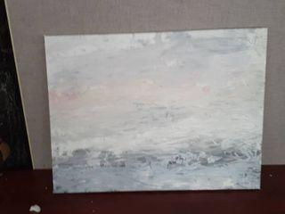 Designart  Gray Abstract Watercolor II  Contemporary Gallery wrapped Canvas   Grey