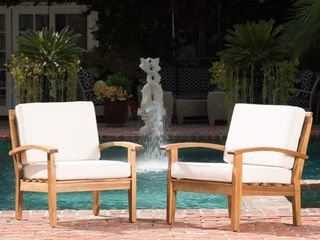 Peyton Outdoor Wooden Club Chair  Set of 2  by Christopher Knight Home  Retail 422 49