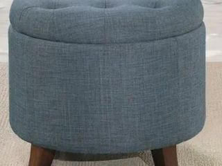 Homelegance Cleo Round Storage Accent Ottoman with Button Tufted Geometric Design