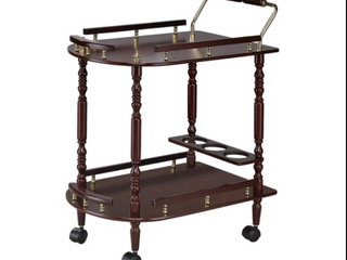 The Curated Nomad Roma Rolling Brass Hardwood Kitchen Cart  Retail 79 48