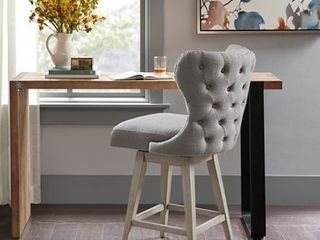 Madison Park Irvine High Wingback Button Tufted Upholstered 27 Inch Swivel Counter Bar Stool with Nailhead