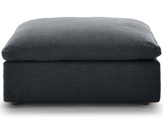 Commix Down Filled Overstuffed Ottoman in Gray