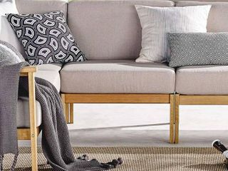 Sedona Outdoor Patio Eucalyptus Wood Sectional Sofa Armless Chair in Natural Taupe