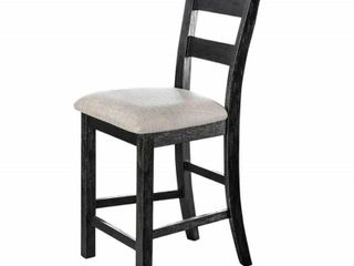 Counter Height Dining Chair  Brushed Black and Ivory