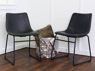 Walker Edison Faux leather Dining Chairs Black   Set of 2