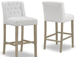 Set of 2 Aled Beige Fabric Barstool with Side Wings and Tufted Buttons Retail 331 49