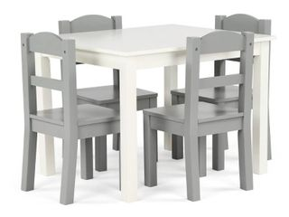 Springfield 5 Piece Wood Kids Table   Chairs Set in White Grey  Retail 115 49