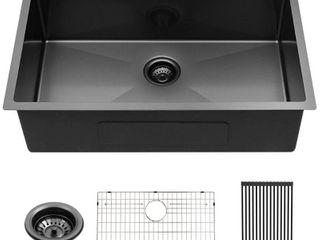 30 inch Kitchen Sink Undermount Matte Black 16 Gauge Stainless Steel Round Corner Single Bowl Kitchen Sink Basin Retail 346 49