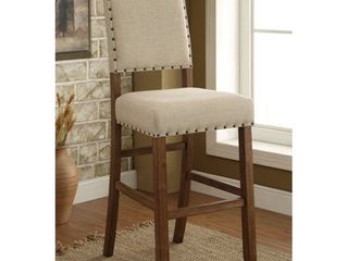 Furniture of America Tays Contemporary Brown Fabric Bar Chairs  Set of 2  Retail 309 99