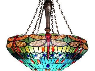 Chloe lighting Scarlet Tiffany Style 3 light Dragonfly Inverted Ceiling Pendant with 24  Shade