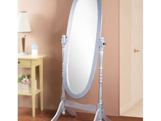 Roundhill Traditional Queen Anna Style Wood Floor Cheval Mirror  Silver Finish
