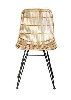 Braided Beige Rattan Chair with Black Metal Frame  Set of 2  Retail 189 99