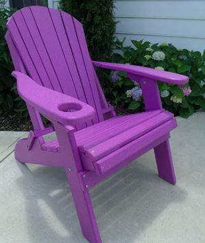 Folding Adirondack Chair w Cup Holder  Purple