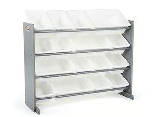 Porch   Den Odino Grey and White Extra large Storage Organizer with 20 Plastic Bins