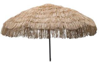 7 6  Palapa Tiki Aluminum Collar Tilt Patio Umbrella Tan   Parasol