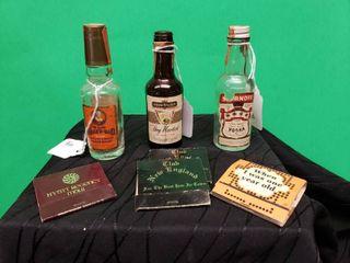 Vintage liquor Bottles   Match Books