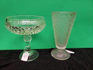 Glass Candy Dish   Pink Glass Soda Glass