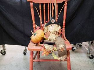 Vintage Fall Decorated Wooden Chair