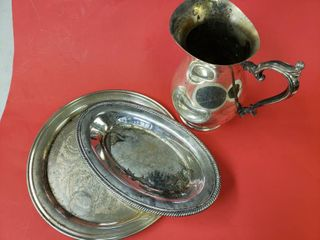 Vintage Silver Plated Serving Trays and Picher