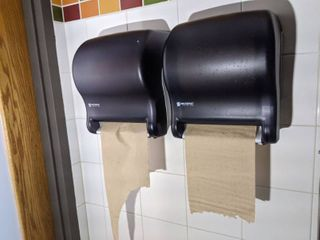 Two San Jamar Paper Towel Dispensers  2 Eco lab Soap Dispensers  Buyer Responsible For Removal
