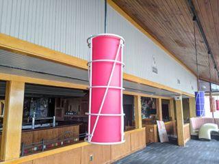 2  Red Hanging light Fixtures
