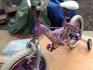 girls happy princess bike with training wheels seat is 22 in off the ground