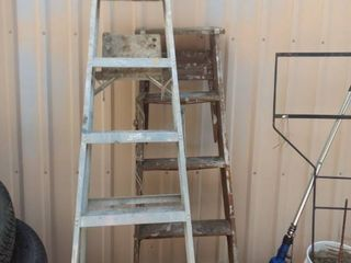 6 ft aluminum step ladder and a 5 ft wood step ladder
