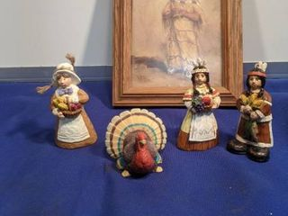 Thanksgiving figurines and little Indian girl picture