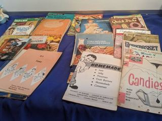 old cookbooks crochet books canning books and recipe books and others