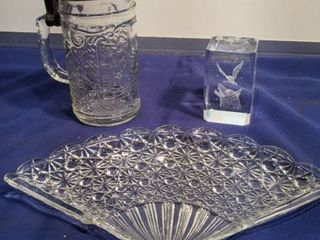 fan plate paperweight and glass stein