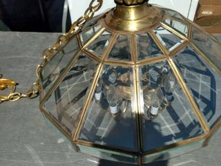 hanging chandelier style light with beveled glass 24 in across 20 in tall