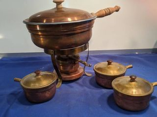 copper warmer with three small pots