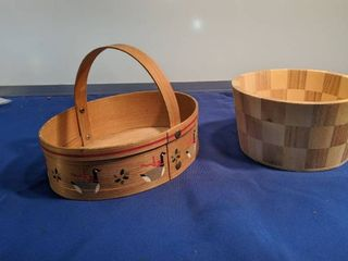 two wooden baskets