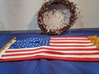 wreath and a flag made out of beads
