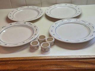 four longaburger plates and napkin rings