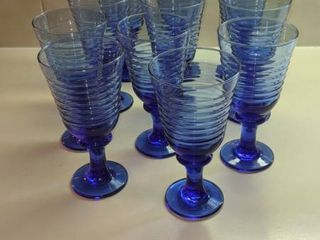 11 blue water glasses