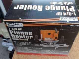 new in box Chicago electric power tools 1 and 3 4 horsepower plunge router with brake