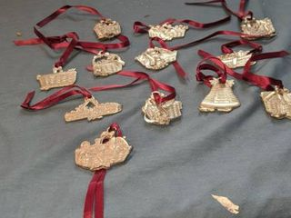12 Christmas ornaments on ribbons