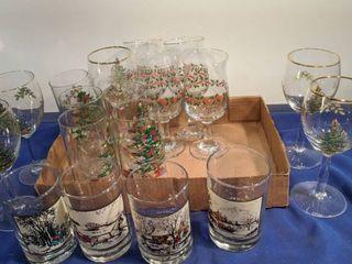 flat of Christmas glasses