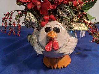 chicken flower pot