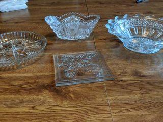 four glass cut pieces