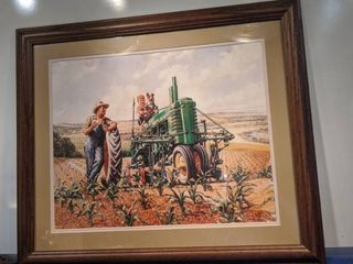boy sitting on John Deere tractor by W J Hinlon 27 and a half by 23 and a half