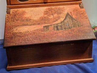 wooden hand painted bread box