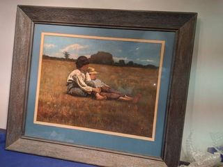 framed boys in the meadow picture